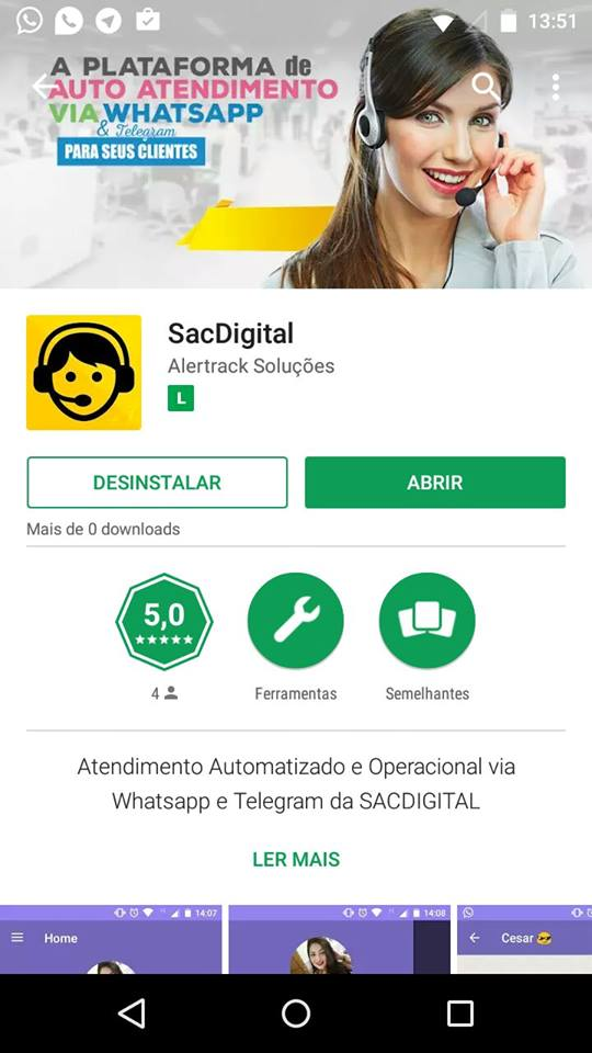 app android sacdigital atendimento automatizado operacional