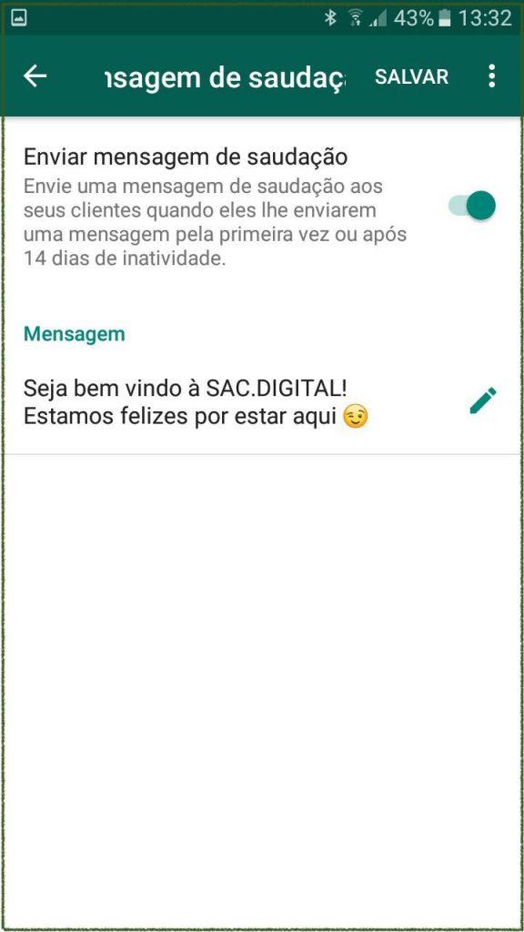 mensagem de saudação do whatsapp business