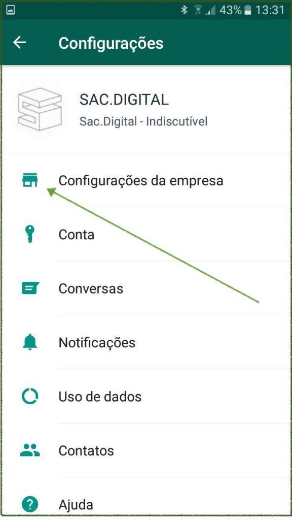 menu configurações da empresa no whatsapp