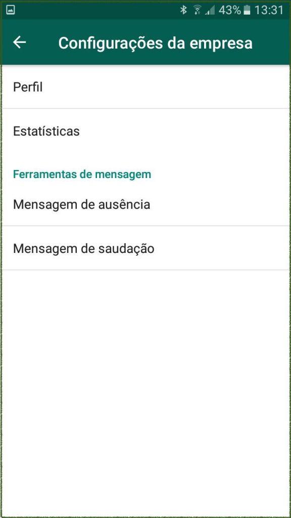 opções do menu configurações da empresa do whatsapp