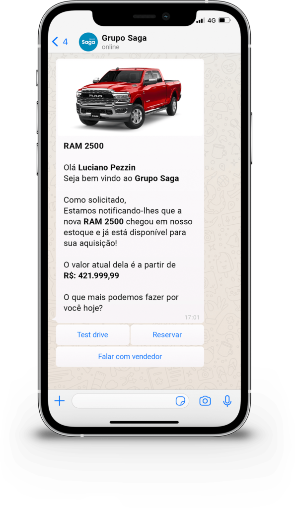 Notificação de WhatsApp business API do grupo SAGA